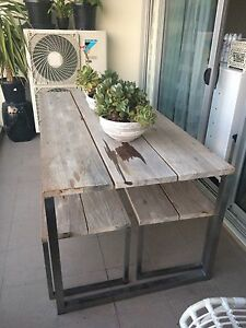 Teak outdoor dining table and benches Mosman Mosman Area Preview