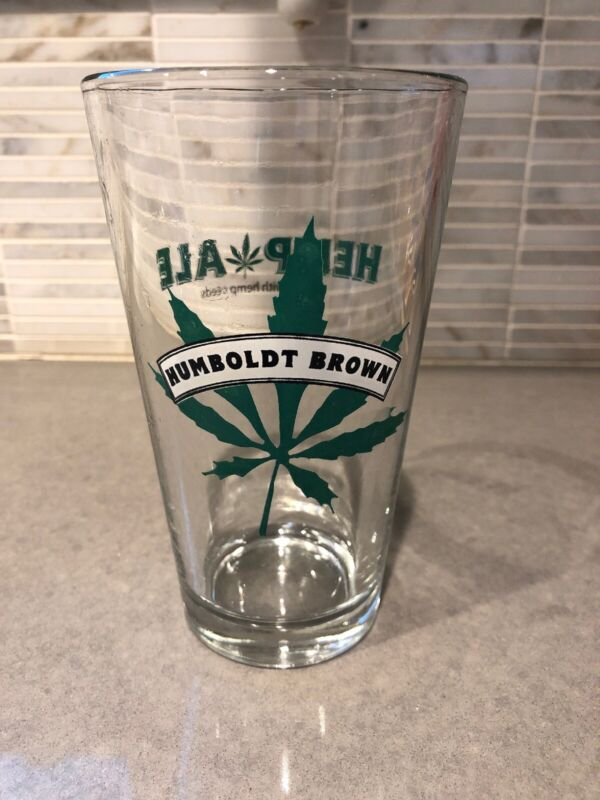 *RARE* HEMP ALE Clear Glass, PINT SIZE Beer Glass Cup, VINTAGE