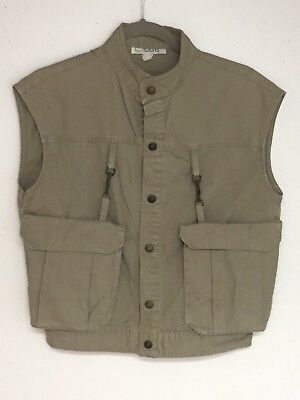 VTG IDEAS Safari CAMPY Fishing VEST Women's Sz Med Khaki Bush Poplin Pockets - Safari Ideas