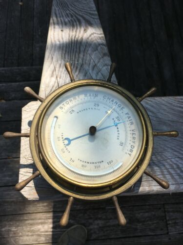 Vintage NPHB HOLOSTERIC BAROMETER & Thermometer Brass  Made in France