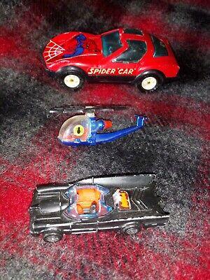Lot Superhero Cars Corgi Jr Batman Spiderman Buddy L Spidercar Batmobile 1976