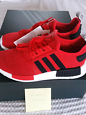 NEW Men's US10 Adidas NMD R1 Core Red and Core Black