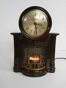 Vintage-Clock-1950s-MasterCrafters-Lighted-Fireplace-Motion-Clock-Model-No-272