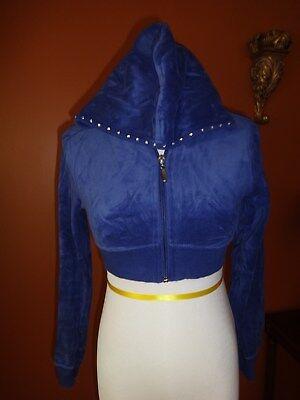 Cello Bling Sweat Shirt Zip Front Hoodie Size S Cobalt Blue Velour Short Waisted ()