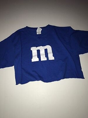 Girls Size Youth Large Blue M&M Costume Crop Top T-shirt