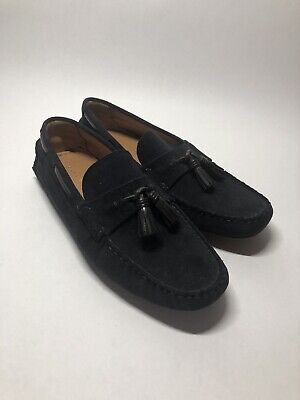 Zara Black Suede Leather Tassel Driving Loafers Shoes - Men's EU 42 US 9 EUC