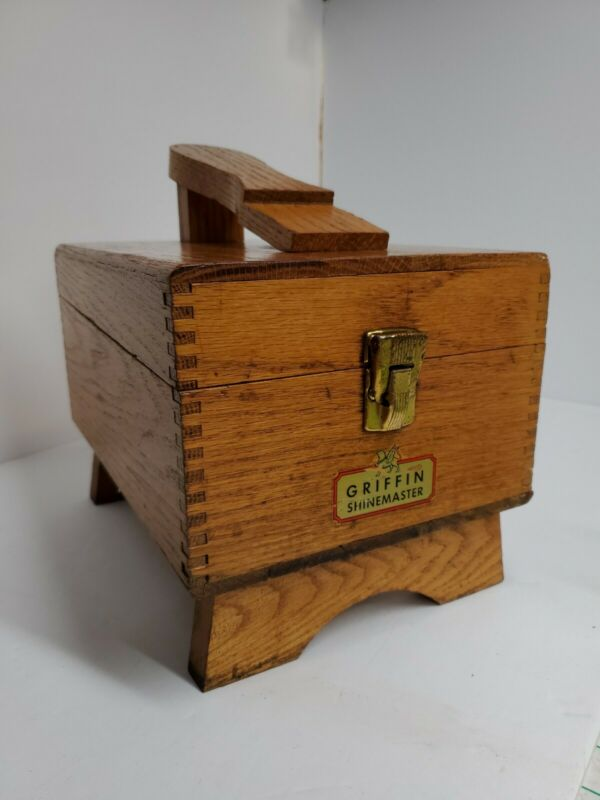 Vintage Griffin Shinemaster Wood Shoe Shine Box with 4 Brushes