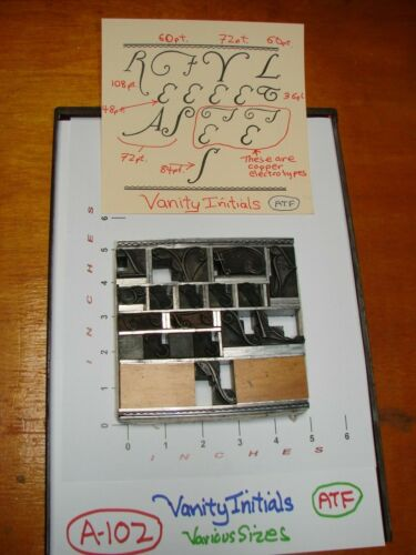 Letterpress - Vanity Initials - Various Sizes