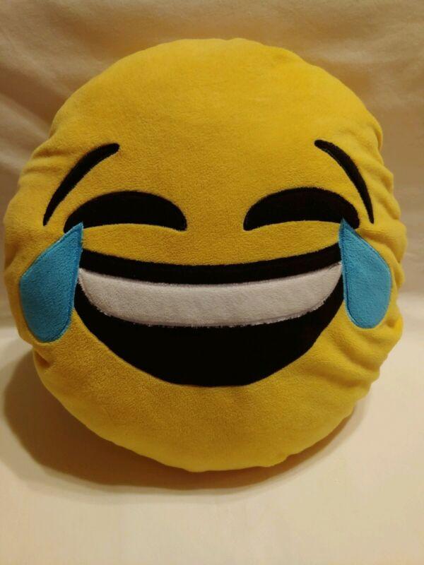 "Emoji Cute Plush Pillow Laughing Tears LOL Large 13-14""  Laughing Joy Funny"