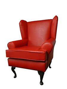 arm chair wing back chair fireside chair red faux leather ebay