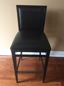Black Leather Bar Height Stools