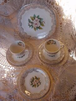 VINTAGE ALFRED MEAKIN ENGLAND TEA SET 9 PIECE FLORAL & GOLD TRIM