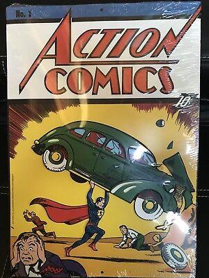 DC Comics™ ORIGINALS Comic Book ACTION COMICS June 1938 Vintage Decor TIN SIGN - Comic Book Decor