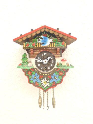 VTG Miniature West Germany Mini Cuckoo Wall Clock Pine Tree and Mushroom