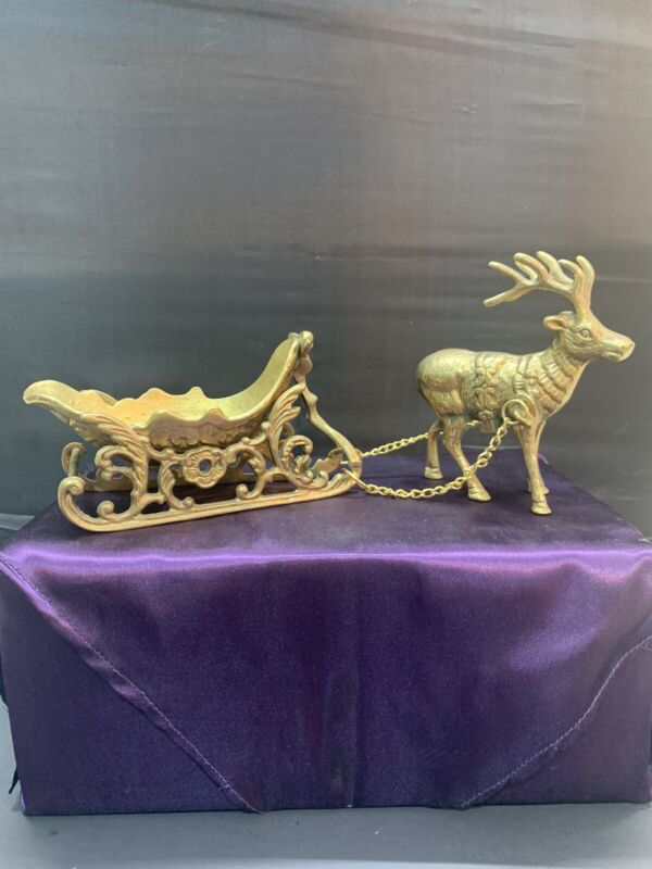 Vintage Solid Brass Christmas Sleigh with Reindeer