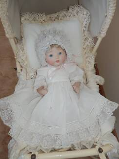 Armand Marseille Porcelain Doll and Wicker Pram Toukley Wyong Area Preview