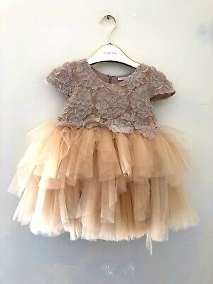 Mishka Aoki Luxury Couture Girls Party Embroidered Dress Size 4 $1250