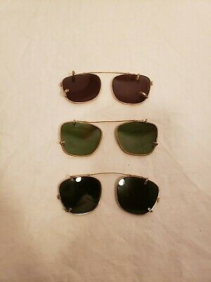 Vintage Sunglass Clip on Shades for Prescription Glasses, Lot 3, Aviator (Sunglass Clip Ons For Prescription Glasses)