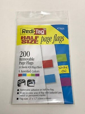 - Redi-Tag Half Size Page Flags, 0.5 in x 1.7 in, Assorted Colors, Pack of 200