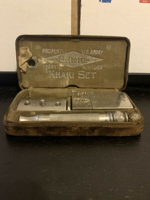 Antique World War I Gillette Khaki Set Razor in case