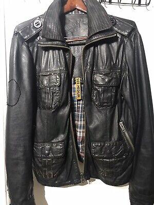 Mens SUPERDRY Brad Leather Jacket Size M-  Distressed Unique Vintage