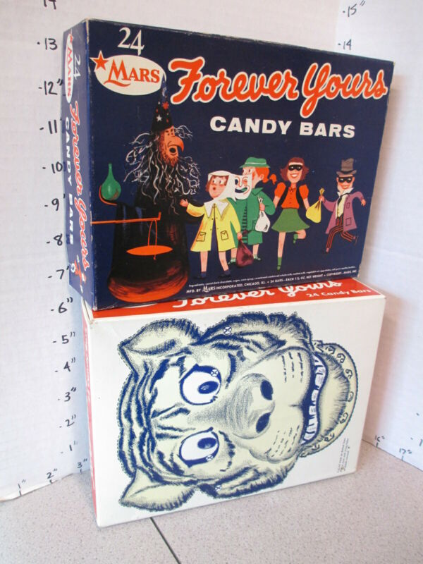 FOREVER YOURS 1950s Mars store display Halloween candy bar box witch TIGER mask