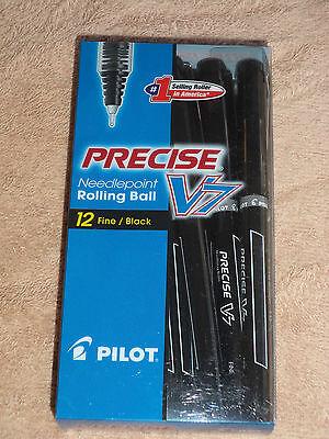 12 Pilot V7 Precise Black 7mm Roller Ball Pen Fine 35386 Pv7-blk-cb 072838353863