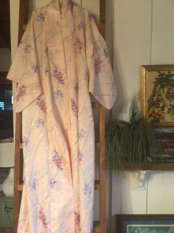 vintage authentic kimono pink floral batwing One Size