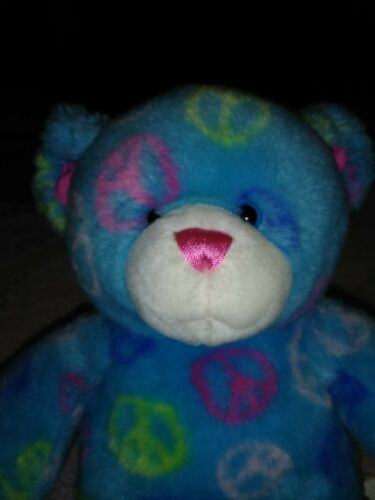 Build A Bear Plush Bear Peace Sign Pink And Blue. EUC. A-26