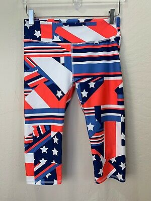 FABLETICS KATE HUDSON STARS AND STRIPES RUNNING WORKOUT YOGA CAPRI LEGGING SZ S