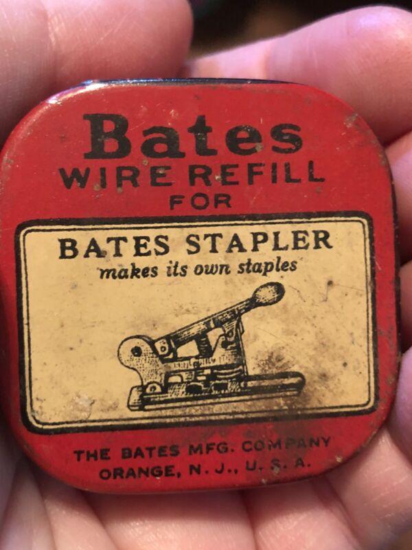 NOS Vintage Bates Wire Tin & Refill for Bates Stapler