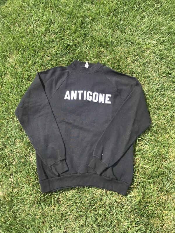Vintage Mens 50/50 Blend Crewneck Sweatshirt 1970's Black Sportswear Large