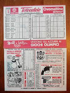 1975 CONI Schedina non giocata TOTOCALCIO Concorso 5 Serie B OVOMALTINA DA FORZA - Italia - 1975 CONI Schedina non giocata TOTOCALCIO Concorso 5 Serie B OVOMALTINA DA FORZA - Italia