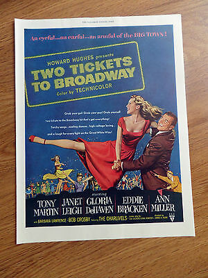 1951 Movie Ad Two Tickets to Broadway Tony Martin Janet Leigh Gloria DeHavenk