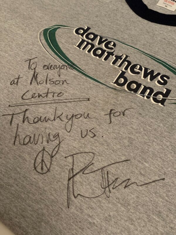 DAVE MATTHEWS Signed BAND Concert Tour Shirt DMB Rare XL Molson Toronto Canada