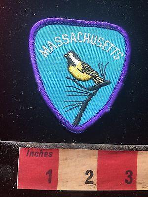 Vtg MASSACHUSETTS USA State Bird Black-Capped Chickadee Patch PURPLE Border 73UU