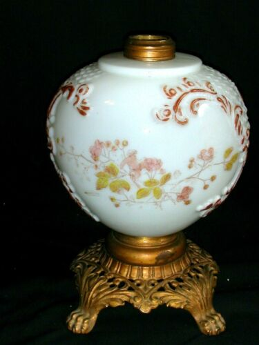 Antique GWTW Milk Glass Lamp Base Embossed Curlicues Fish Scales Pink Roses CL&G