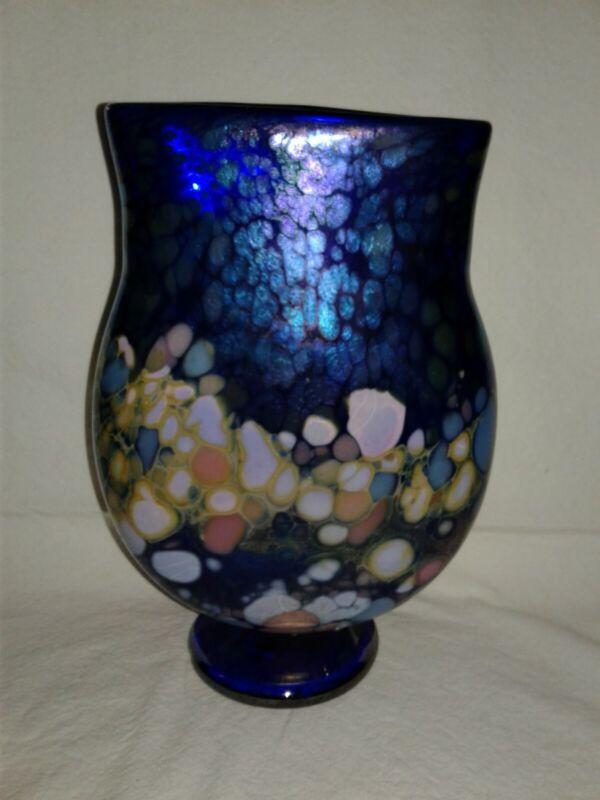 """Joel Bloomberg Glass Vase 1994 Signed 8 3/4"""""""