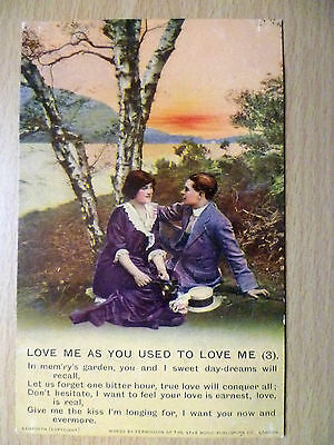 WW1 Bamforth Song Postcard Love Me as You Used to Love Me- 3(+Postage Revenue