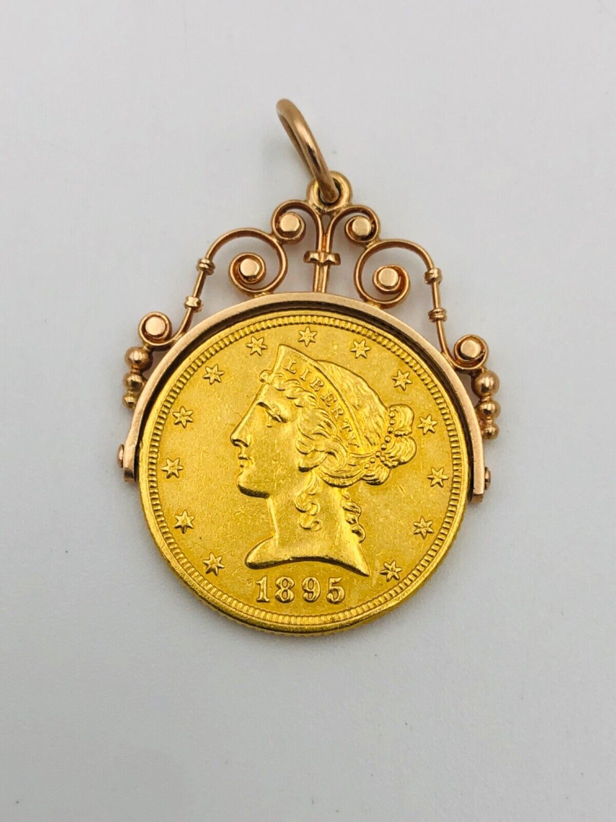 22k Victorian 1895 5 Five Dollar Gold Pendant Swivels Shows Both Sides Of Coin - $1,200.00