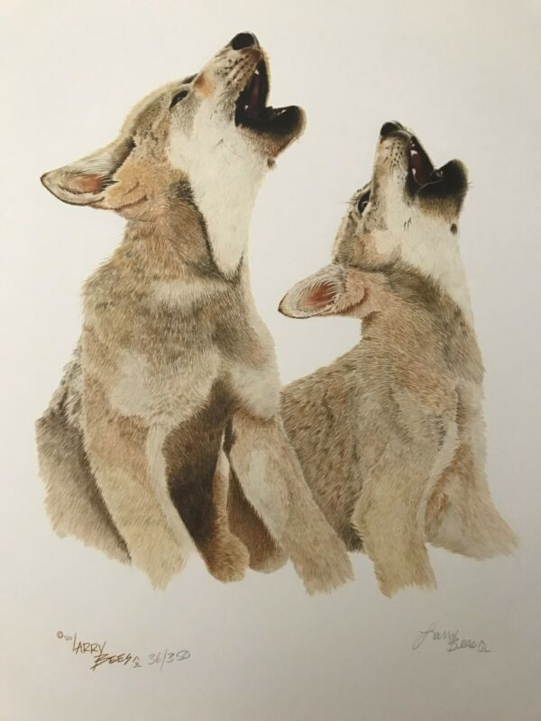 """Western Art / Wildlife-Wolves """"Duet""""signed print by artist Larry Bees"""