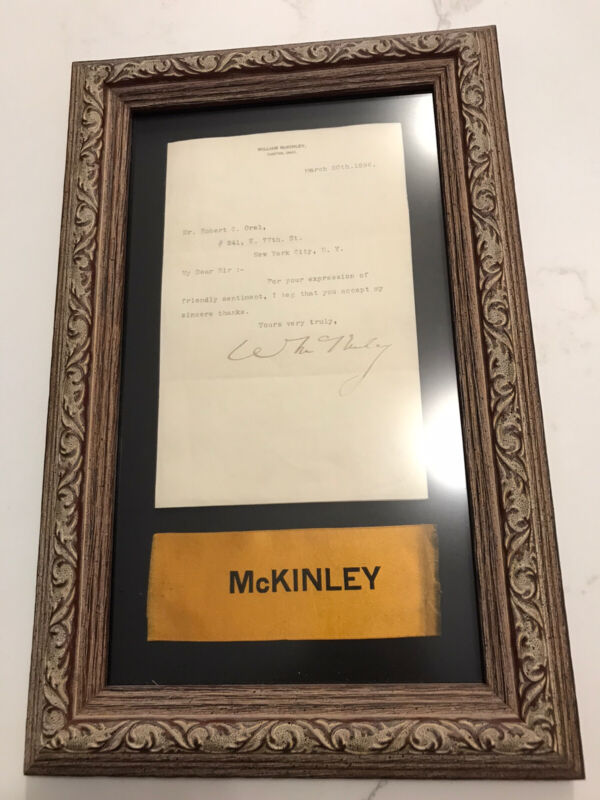 President William McKinley Framed TLS Autograph Letter and Ribbon
