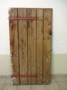 ancienne porte de cave en sapin avec ferrures ebay. Black Bedroom Furniture Sets. Home Design Ideas