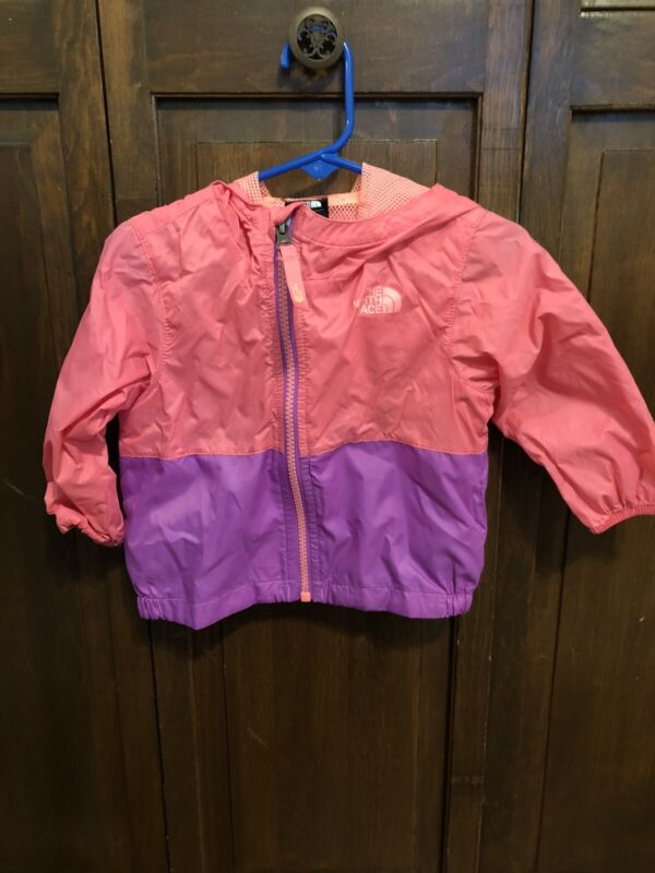The North Face Baby Girl 6-12 Month Coral & Purple Hooded Lightweight Jacket