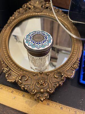antique vintage sterling dresser jar enamel lid estate piece rare
