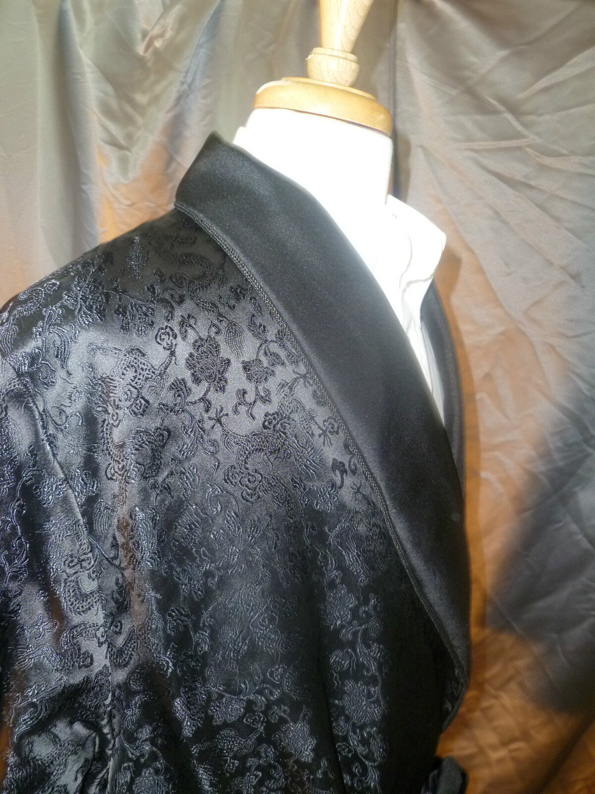 Mens Smoking Jacket - Chinese Silk Style - Short Robe - Full lined