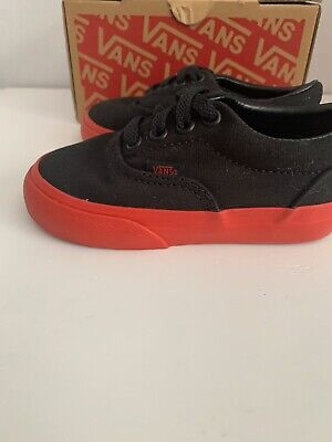 Vans Era Black / Red Used With Box Red Sole Toddler Shoes Size 6T