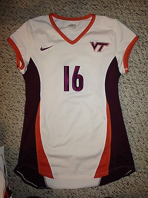 7c9d53f988d Nike Virginia Tech Hokies Game Worn  16 S S White Volleyball Jersey