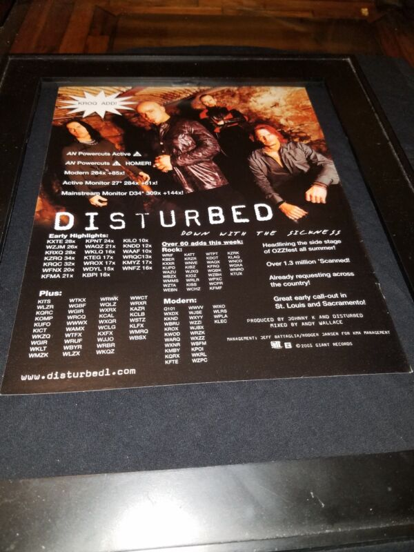 Disturbed Down With The Sickness Rare Original Radio Promo Poster Ad Framed!