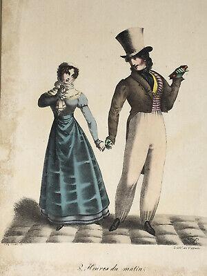 Villain Couples Costumes (8 Heures Soir LITHOGRAPHIE Villain GRAVURE Couple Mode Costume)